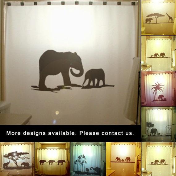 Elephants shower curtain mother baby kids bathroom decor for Elephant bathroom accessories