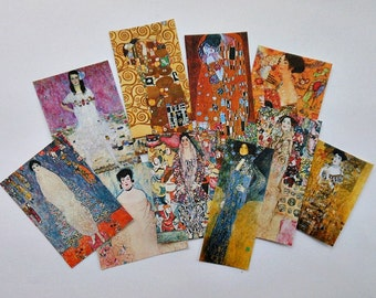 Your choice of 2 different SETS- KLIMT STICKERS-  Klimt paintings Klimt Art Deco paintings Klimt decorations- Set A with 10 or Set B with 18