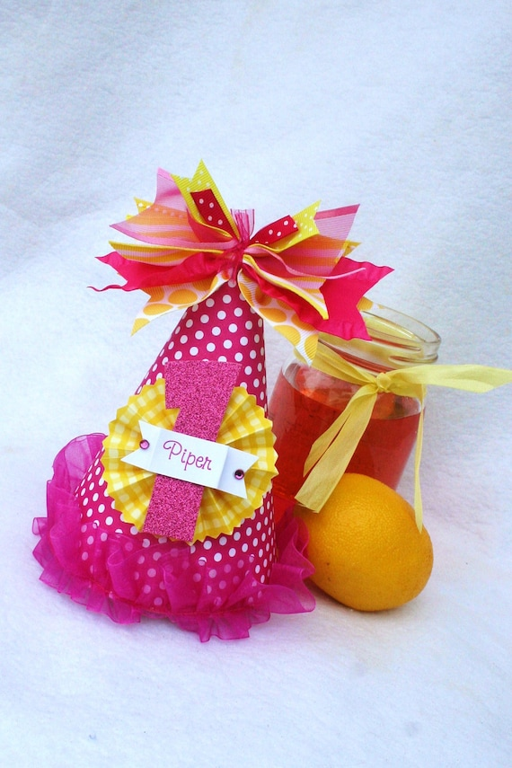 Hot Pink Lemonade party hat in strawberry pink and lemon yellow polka dots and stripes