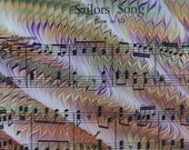 The Sailor's Colorful Song - hand marbled vintage sheet music