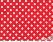 Japanese, Leicen Color Basics, White Polka Dots on Cherry Red, 4506-NR, 1/2 Yard