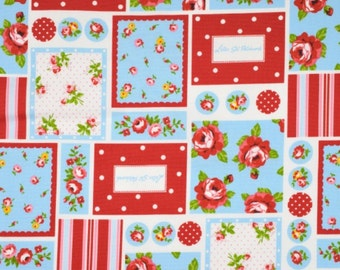 Last One, Japanese, Flower Rose Patchwork in Red and Aqua, Fat Quarter