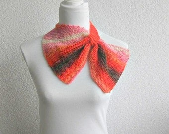 Knitted scarf, Triangle Shawl, Neckwarmer,  Ombre, Orange, Pink, Brown, Knitted Scarf, Cowl, Warm, Trendy, stylish, infinity, Feminine