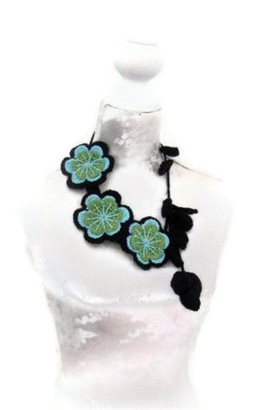 Crochet Jewelry, Necklace black,turqouise and green