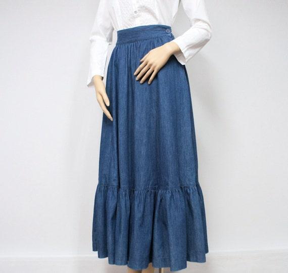 denim skirt prairie skirt peasant skirt blue jean skirt
