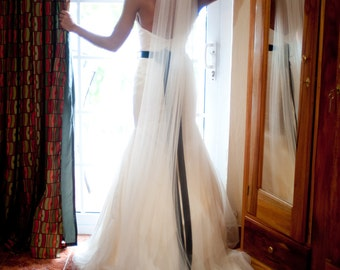 Straight chapel length Wedding Bridal Veil 90 inches white, ivory or diamond