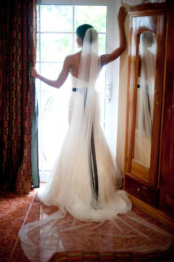 ivory Straight cathedral length Wedding Bridal Veil 120 inches white