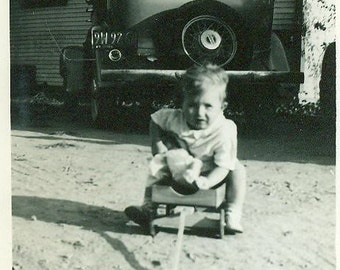 1937 Barbara Buck Lawndale CA Baby on Wagon In Front of Car With Teddy Bear Vintage Photo Black and White Photograph