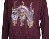 "Three Native Kitty Cats Pullover Slouchy ""Sweatshirt""  Top American Apparel Cranberry S   M   or   L"