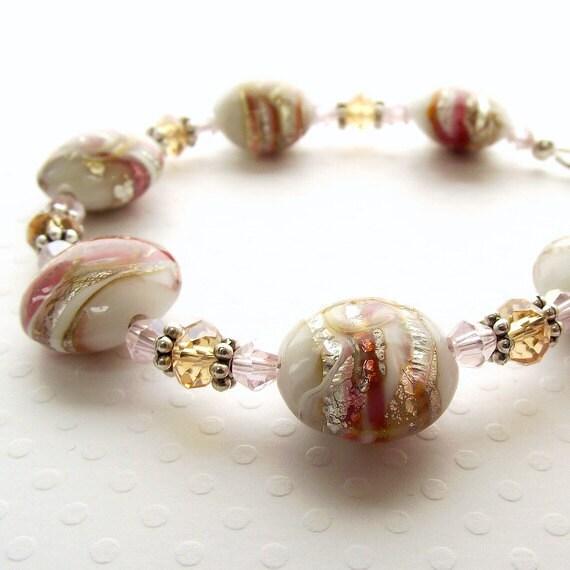 Bracelet, beaded bracelet, pink white bracelet