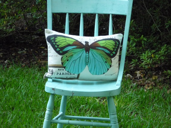 butterfly pillow cover linen french script home decor 12x18 butterflies turquoise typography paris