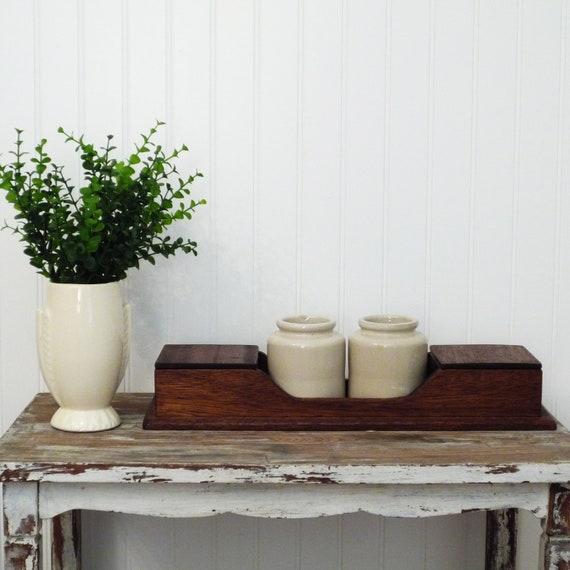 wooden decor desk organizer wood crock ceramic stained decor storage industrial craft art