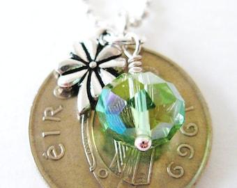 1969 IRISH Silver Coin Charm Necklace- Irish 5 Pence Ireland Jewelry