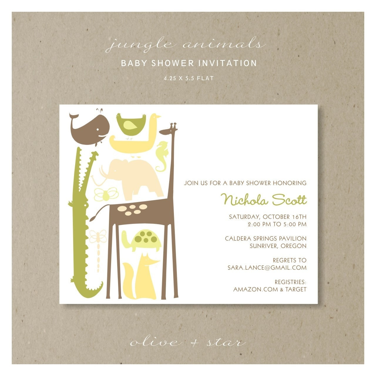 jungle animals baby shower invitation set reserved listing