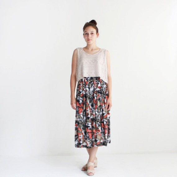 Safari maxi skirt with elastic waist - cotton - small, medium