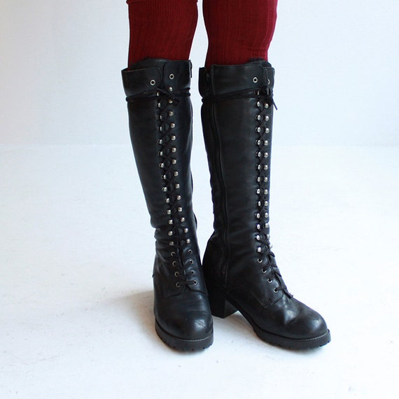 on hold size 11 black chunky boots knee high lace by