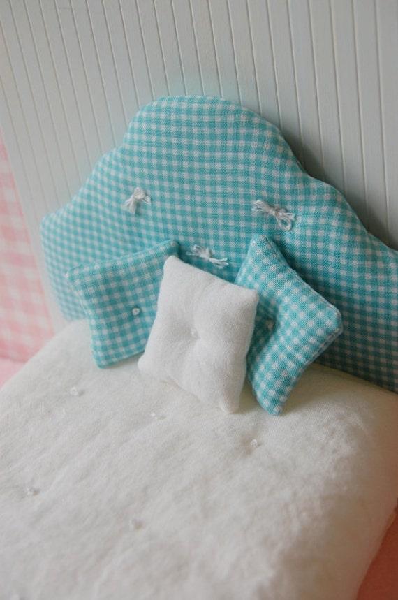 Dollhouse Miniature Shabby Upolstered Headboard