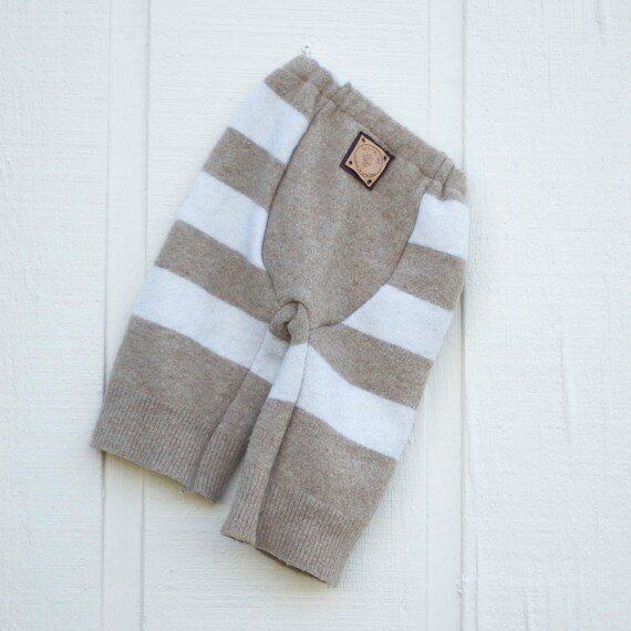 Upcycled Wool Longies - Cloth Diaper Soaker - Brown and White Stripe - Medium - 6-12 Months