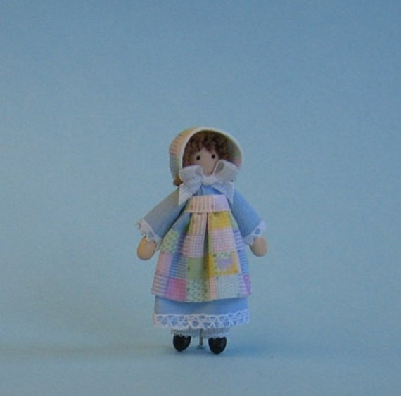 """Pamela Patchwork miniature 1/4"""" and 1"""" scales doll plus free dollhouse kit"""