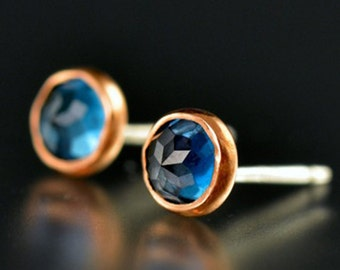 Blue Topaz Studs - Rose Cut Blue Topaz Studs - Rose Cut Topaz Gold Studs - Rose Gold Blue Topaz Studs - 14 KT Rose Gold Blue Topaz Gem Studs