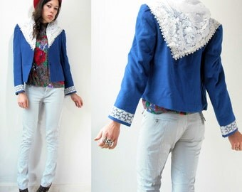 80's Vintage Cobalt Blue Sailor Jacket Blazer/ Draped White Lace Scarf Collar
