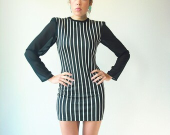 SALE...Vintage 80's Black Stripe Mini Bandage Dress / Sheer Sleeve / Faust