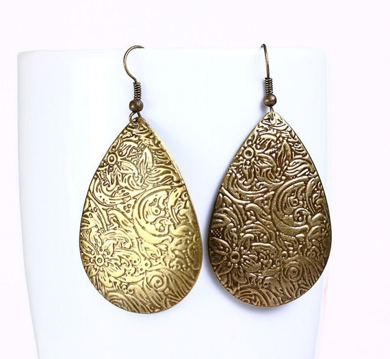 Antique brass filigree drop dangle earrings (543) - Flat rate shipping