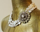 Bridal Statement Necklace - Stunning Vintage Rhinestones, 3 Strands Ivory Freshwater Coin Pearls - One of a Kind(The Bennett)