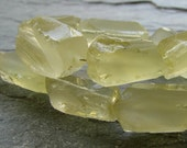 """ON SALE Lemon Quartz Hammer Cut Frosted Oval Nuggets, 8"""" strand (7a15c)"""