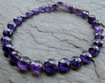 Amethyst Faceted Coins, purple amethyst beads, 8 inch strand,  (8k12)