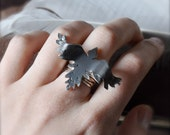 The Black Bird Silver Ring- made to order in your size