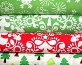 Modern Christmas fabric bundle- 1/2 yards set of 4 cotton quilt fabrics- trees and snowflakes - laurl