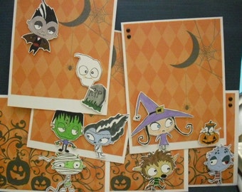 Set of 6 Usual Halloween Suspects Cards - orange diamond pattern