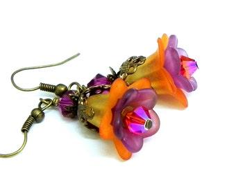 Flower Earrings - Orange and Purple Tulip lucite beads