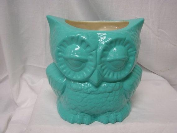 Tootsie Pop Owl Desk Vase Turquoise