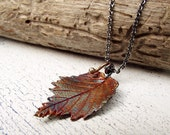 Fine Silver Elm Leaf Pendant Colorful Autumn Metal Clay Jewelry