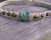 Hemp Ankle Bracelet with Turquoise, Brass and Wood