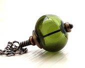 Green Lampwork Glass Necklace, Olive Forest Green Lampwork Hollow Antiqued Brass Necklace Autumn Fashion - Elf