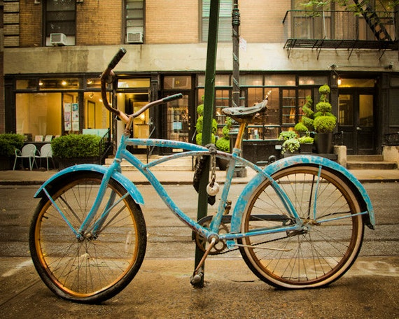 Vintage Bicycle Photo Bike Photography nyc Photograph New York City Greenwich Village Shabby Chic Retro Old nyc32