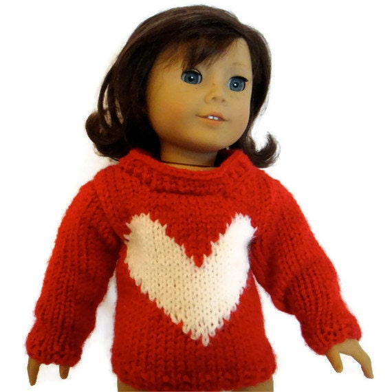 Sweater Red and White Heart American Girl Doll