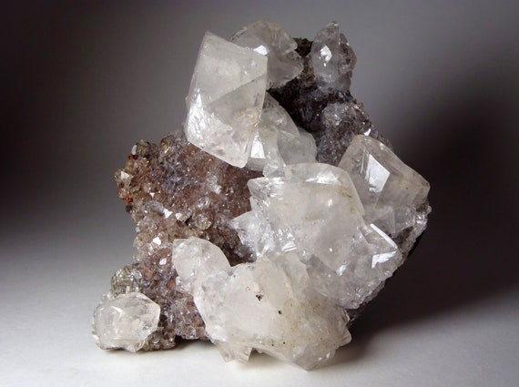 Luminous Clear Calcite Crystals on Matrix.  Rough, Natural Piece.  Crystal Healing / Mineral Specimen )0(