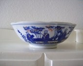Vintage Transferware Porcelain Serving Bowl Asian Scholars - Five Fortunes Longevity Symbols
