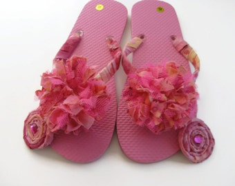 Decorated Flip Flops Pink Convertibles 2 Pairs in One