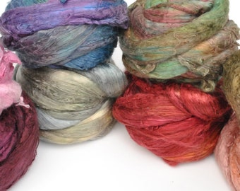 Heidifeathers Mulberry Silk Tops 8 Colour Mix, Hand Dyed
