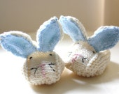 Baby Bunny Slippers - Knitted Bunny Booties - Ivory with blue ears  - Made to Order - Choose size