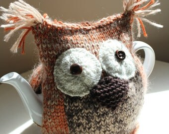 Tabitha - Hand-knitted 'Tawny Owl' Tea Cosy - in Pure Merino Wool and Mohair mix -  fits medium 6-cup teapots