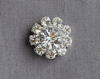 5 Rhinestone Buttons Round Diamante Crystal Hair Flower Comb Clip Wedding Invitation Scrapbooking Ring Pillow Napkin Ring BT053