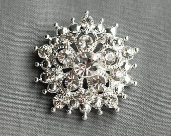 "10 Rhinestone Buttons Round 1.25"" (32mm) Diamante Crystal Hair Flower Comb Wedding Invitation Bouquet Jewelry Ring BT060"