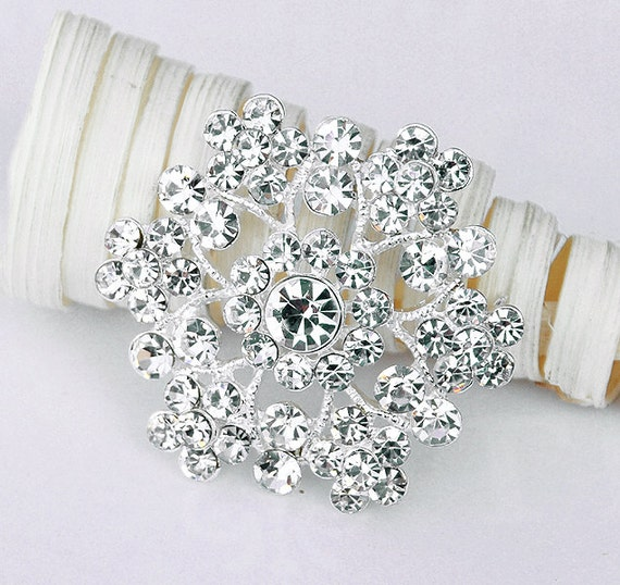 "Rhinestone Brooch Component 1-5/8"" Crystal Flower Bridal Hair Comb Shoe Clip Pin Wedding Cake Decoration Invitation BR005"