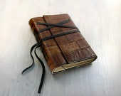 Leather Notebook - Rustic Brown Leather Notebook with Aged Paper